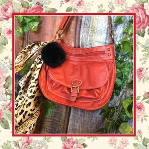 🍒3PC RED LEATHER PURSE FAUX FURBALL & SCARF SILK